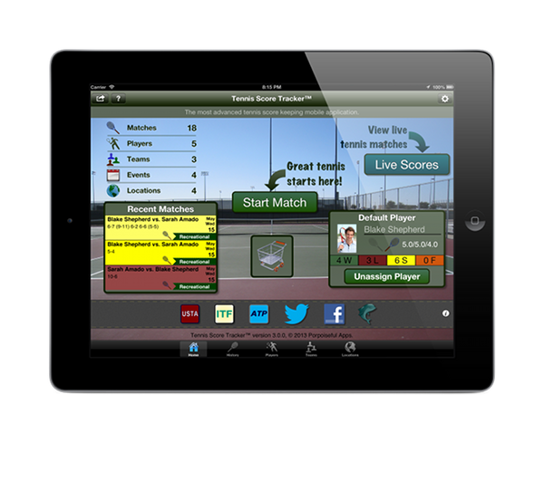 Tennis Score Tracker iPad Home View